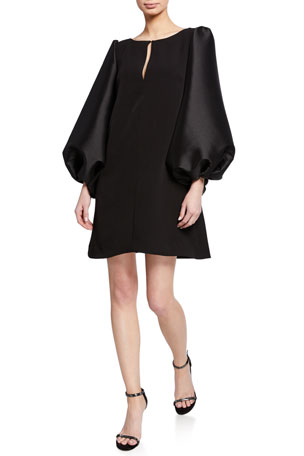 Badgley Mischka Collection Boat-Neck Puff-Sleeve A-Line Mini Cocktail Dress