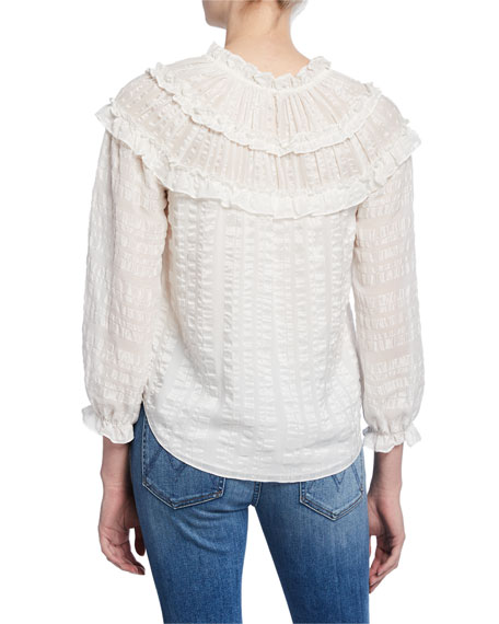 Rebecca Taylor Long-Sleeve Ruffle Striped Top