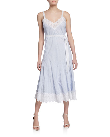 Rebecca Taylor Sleeveless Striped Tank Dress with Lace