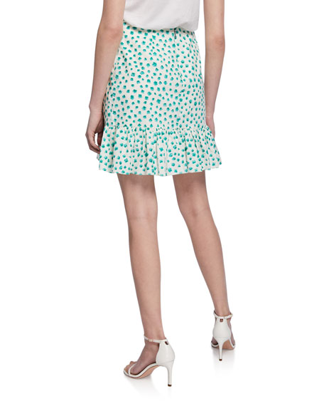 Rebecca Taylor Daisy-Print Short Flounce Skirt