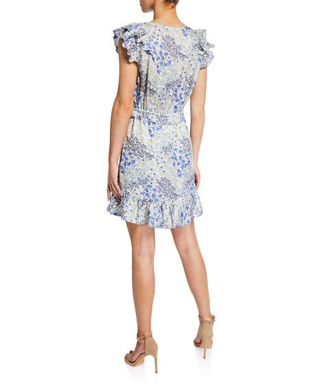 Rebecca Taylor Ava Sleeveless V-Neck Ruffle Short Dress