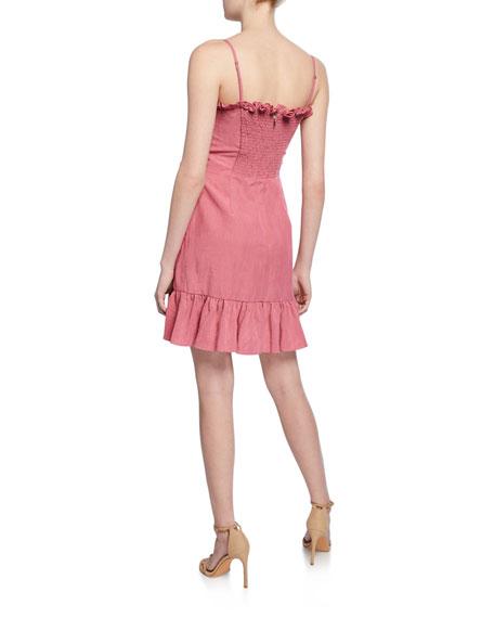 Rebecca Taylor Sleeveless Linen Ruffle Wrap Dress