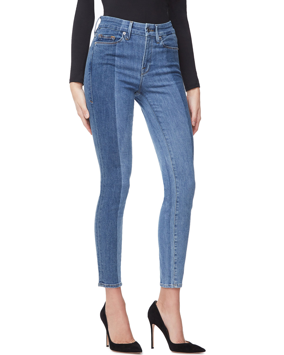 Good American Good Legs Crop Laser-Cut Jeans - Inclusive
