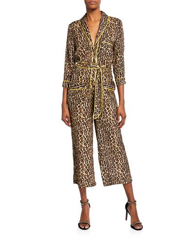 Beatnik Leopard-Print Cropped Jumpsuit