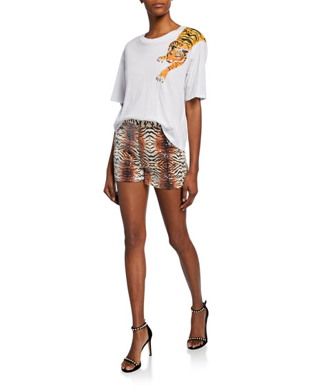 Le Superbe Ocean Park Sequin Tiger Print Shorts