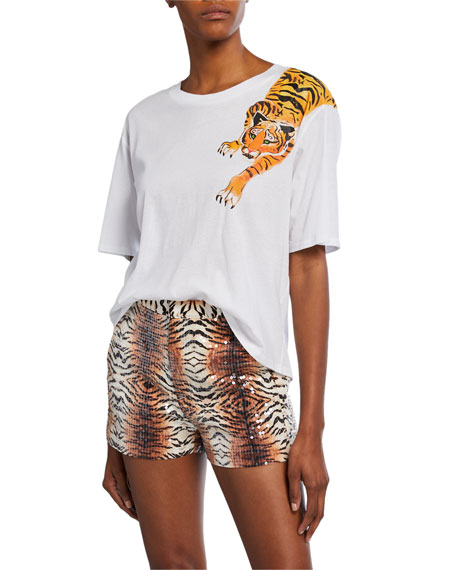 Le Superbe Scratching Tiger Graphic Short-Sleeve Cotton T-Shirt