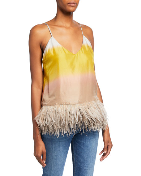 Le Superbe Coppertone Ostrich Feathers Colorblock Cami