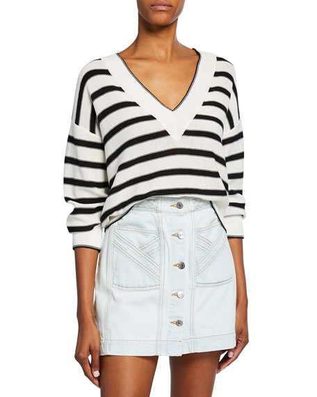Veronica Beard Jayden Striped V-Neck Sweater