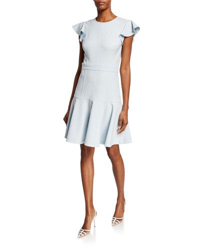 Egle Crewneck Flutter-Sleeve Fit-&-Flare Dress