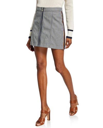 Ava Striped Mini Skirt w/ Tux Exposed Zipper