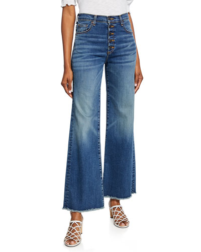 Kirra Flood-Length Fringe Jeans