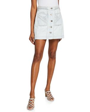 0e2d75d43a Veronica Beard Aron Exposed-Button Braided Mini Skirt