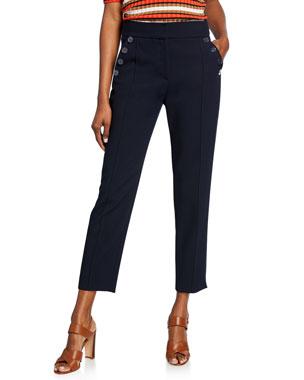 1bd3e70f7bf04c Veronica Beard Freidman Cropped Skinny Pants with Buttons
