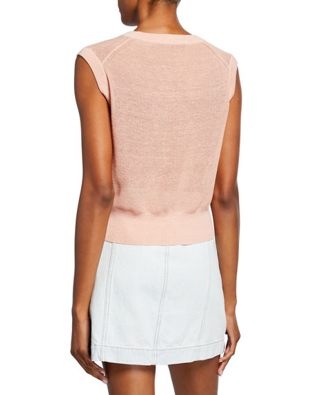 Veronica Beard Kellen Twist-Front Sleeveless Sweater
