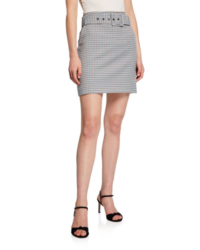 Melissa Belted Check Skirt