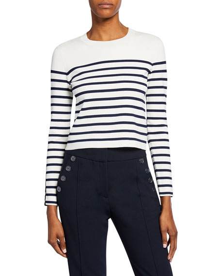 Veronica Beard Park Striped Long-Sleeve Sweater