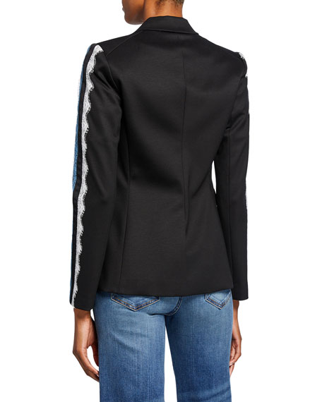 Veronica Beard Damari Long-Sleeve Lace Stripe Jacket