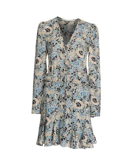 Veronica Beard Riggins Floral Button-Front Dress