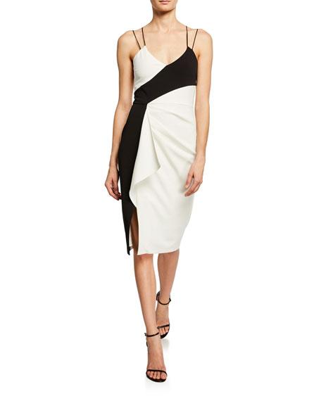 Parker Black Arlene Colorblock Ruffle Side Sheath Dress