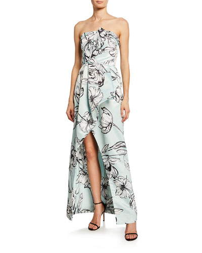 Whitney Floral Satin Strapless Arched Gown