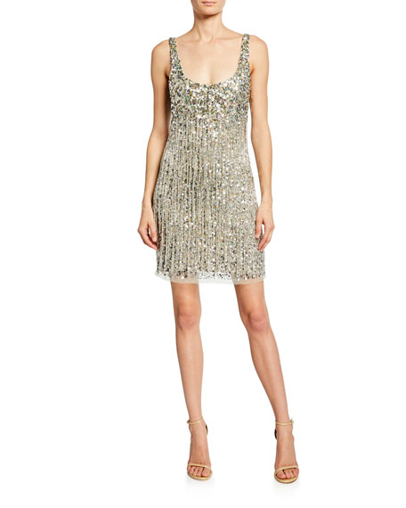 Parker Black Reena Beaded Fringe Sleeveless Mini Dress