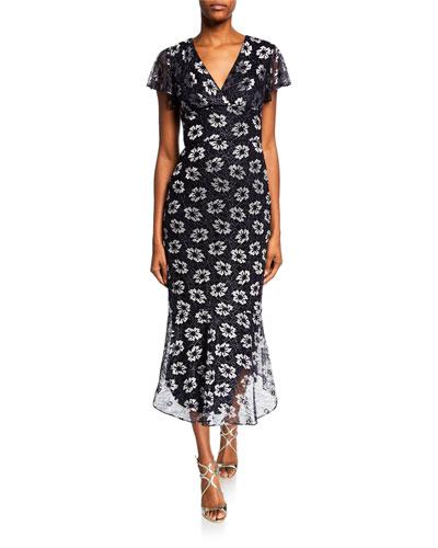 Esmira Metallic Floral V-Neck Flutter-Sleeve Midi Dress