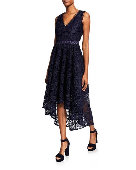 Shoshanna Allona V-Neck Sleeveless High-Low Dress