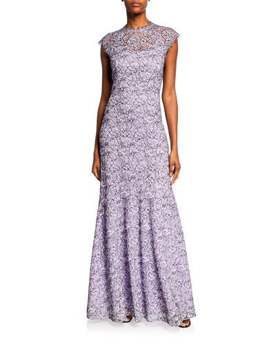 Clarette Cap-Sleeve Lace Gown