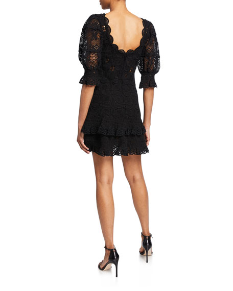 Jonathan Simkhai Scoop-Neck Puff-Sleeve Crochet Lace Ruffle Mini Dress