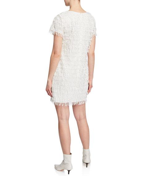 Aidan by Aidan Mattox Beaded Fringe V-Neck Short-Sleeve Mini Crepe Dress
