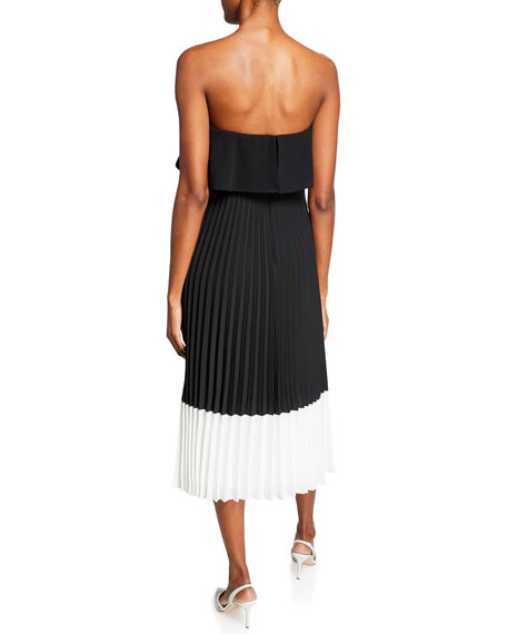 Aidan by Aidan Mattox Colorblock Strapless Popover-Bodice Pleated Midi Dress