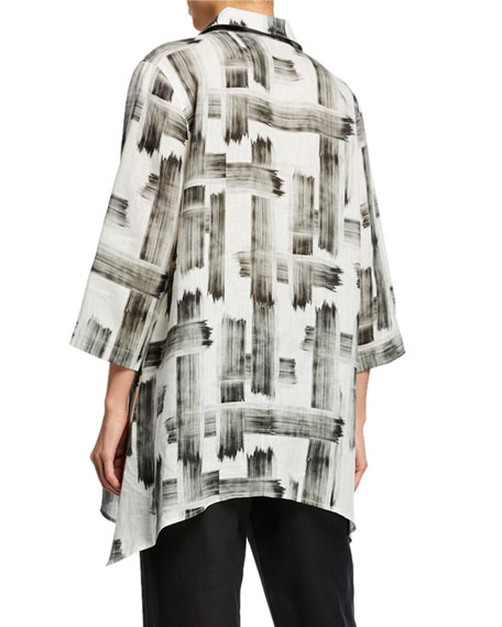 Caroline Rose Plus Size Brushstroke Button-Front Tissue Linen Side-Fall Shirt