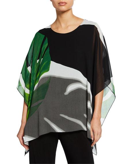 Caroline Rose Plus Size Palm-Print Short-Sleeve Georgette Caftan w/ Tank