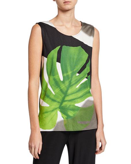 Caroline Rose Petite Palm-Print Stretch-Knit Tank
