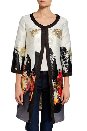 Berek Plus Size Abstract Floral Long Dressy Jacket