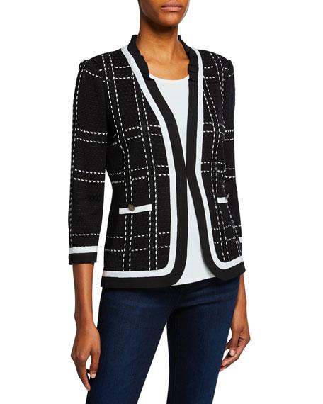 Misook Petite 3/4-Sleeve Short Plaid Jacket with Striped Trim