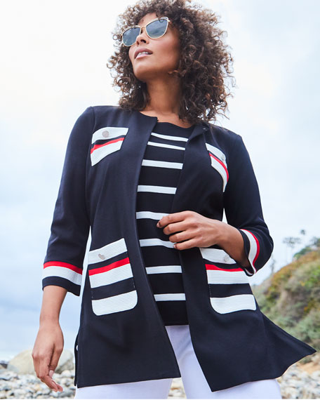 Image 2 of 3: Misook Plus Size Striped Long Jacket with Button Detail