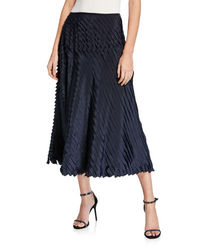 Petite Fiesta Pleated Ruffle Midi Skirt
