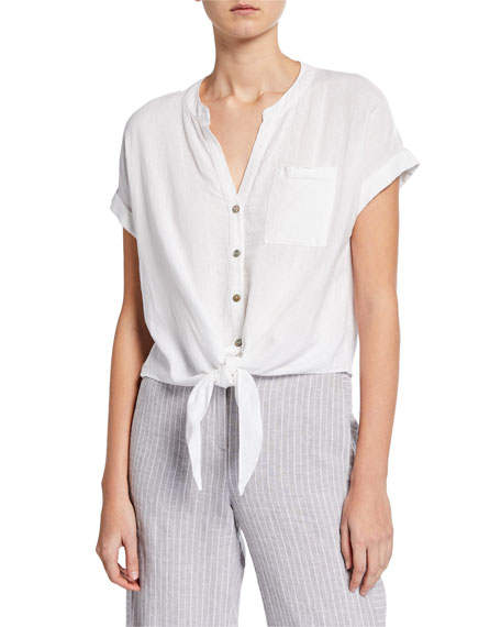 NIC+ZOE Petite Tie It On Button-Front Short-Sleeve Top