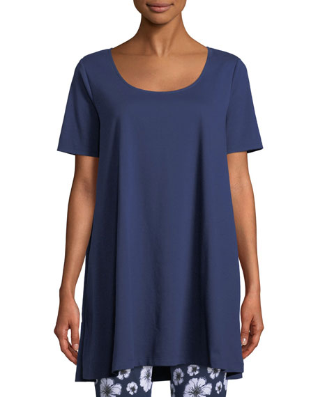 Image 1 of 2: Joan Vass Petite Short-Sleeve Scoop-Neck Tunic