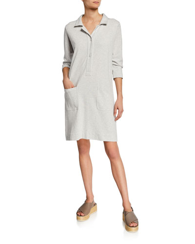 Petite 3/4-Sleeve Button-Front Cotton Interlock Shirtdress w/ Pockets