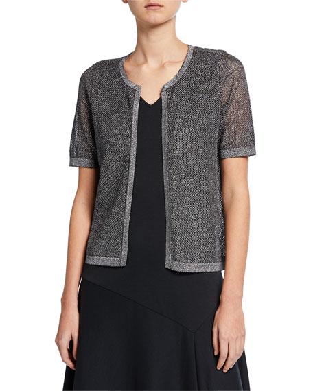 Joan Vass Metallic Mesh Short-Sleeve Open-Front Cardigan