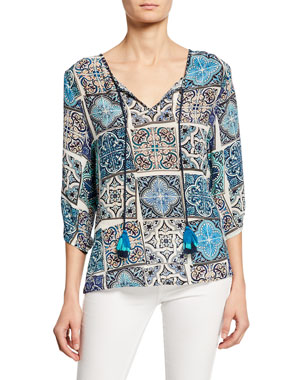 f5a7dab6ab5 Tolani Edith Mosaic Tile Print Split-Neck 3/4-Sleeve Silk Tunic