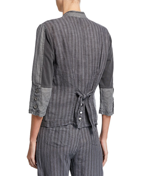 XCVI Plus Size Zip-Front Striped-Back 3/4-Sleeve Linen Utility Jacket