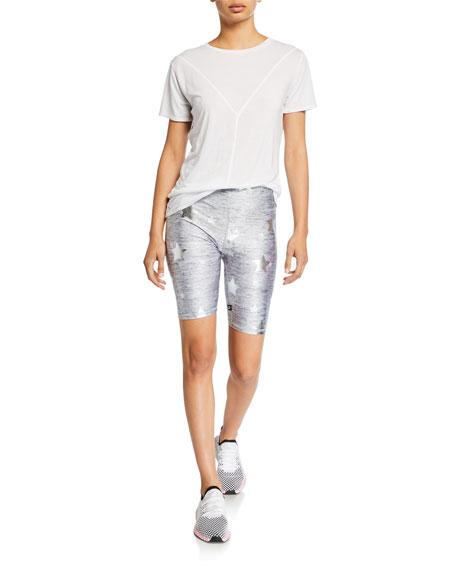 Terez Stars Foil-Print Heathered Balayage Biker Shorts