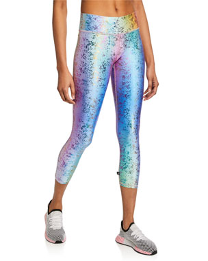 981cdf56685a80 Terez Dusted Rainbow Haze Foil Crop Leggings