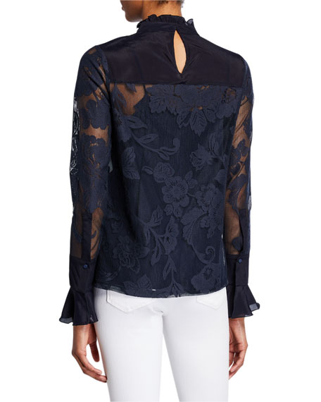 See by Chloe Floral Mesh High-Neck Blouse