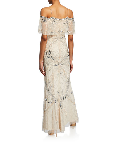 Image 2 of 2: Beaded Cold-Shoulder Halter Gown with Popover