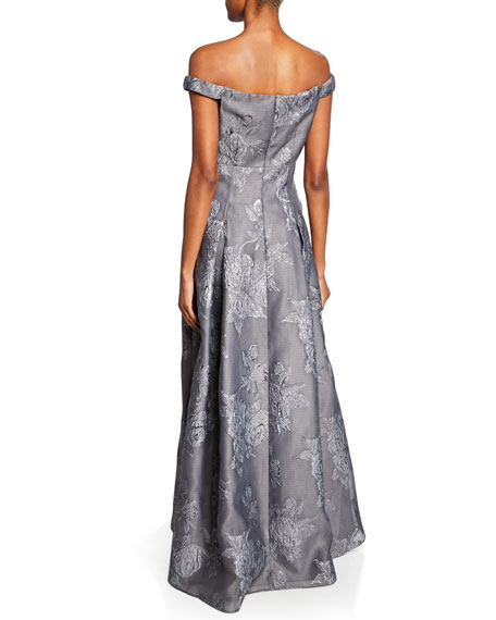 Aidan Mattox Off-the-Shoulder Jacquard Gown with Pleated Skirt