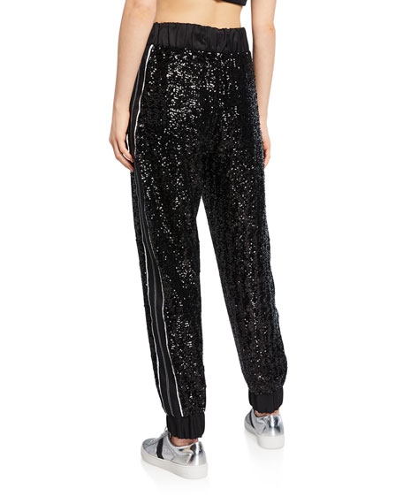 No Ka Oi Midnight Sequined Joggers with Embroidery
